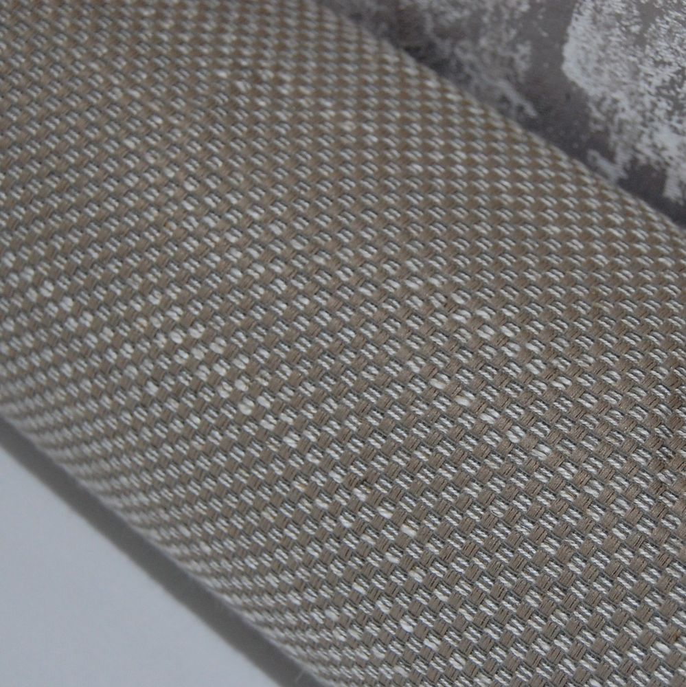 UPHOLSTERY FABRIC CHENILLE SILVER/TAUPE CHECQUER WEAVE, SOLD BY THE METRE.