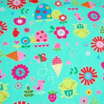 BRIGHT KIDS PRINT ON MINT, 100% COTTON.