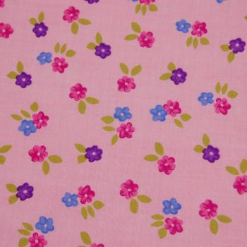 BABY PINK SMALL FLORAL, 100% COTTON.