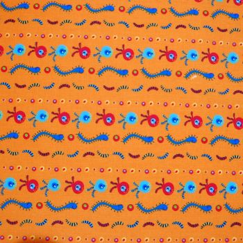 CREEPY CRAWLIES ON A ORANGE BACK, 100% COTTON.
