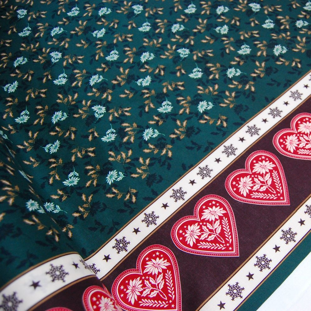 GREEN FLORAL WITH HEART BORDER, 100% COTTON.