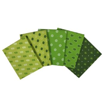 ESSENTIALS LIME FAT QUARTER SET, 5 PIECES. 100% COTTON.