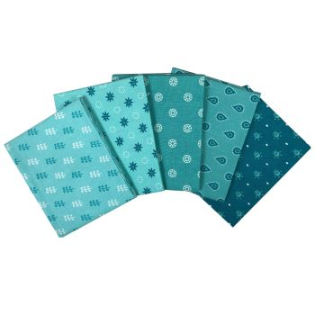 ESSENTIALS AQUA FAT QUARTER SET, 5 PIECES. 100% COTTON.