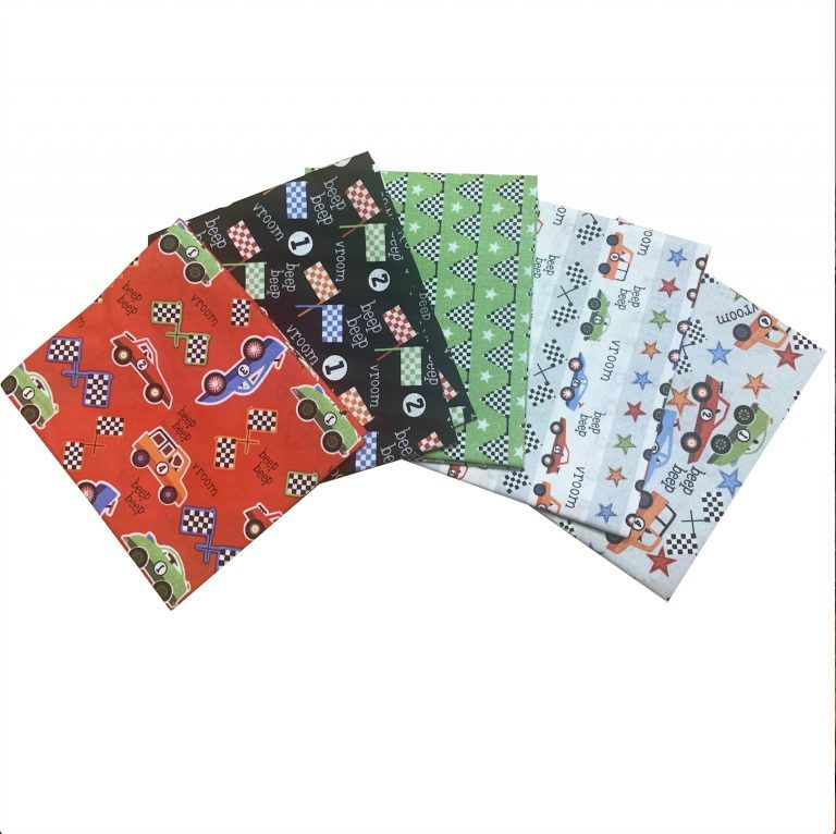 RACE CAR FAT QUARTER SET, 5 PIECES. 100% COTTON.