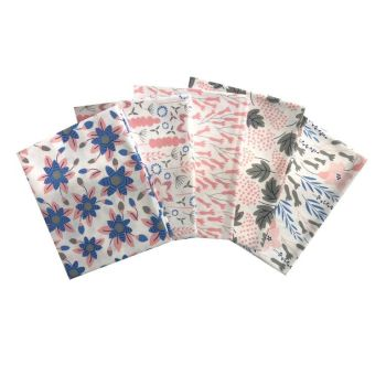 PINK LAGOON FAT QUARTER SET, 5 PIECES. 100% COTTON.
