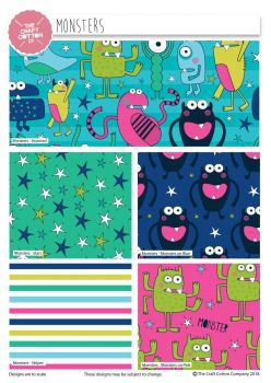 MONSTERS FAT QUARTER SET, 5 PIECES. 100% COTTON.