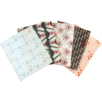 LOVE STORY FAT QUARTER SET, 5 PIECES. 100% COTTON.