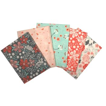 FLORAL GREY FAT QUARTER SET, 5 PIECES. 100% COTTON.