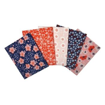 FLORAL NAVY FAT QUARTER SET, 5 PIECES. 100% COTTON.