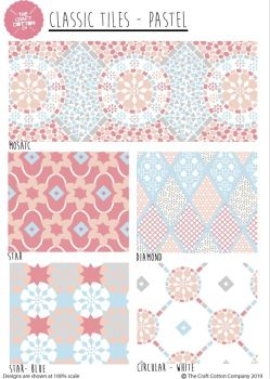 PASTEL TILES FAT QUARTER SET, 5 PIECES. 100% COTTON.