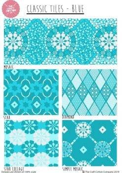BLUE TILES FAT QUARTER SET, 5 PIECES. 100% COTTON.