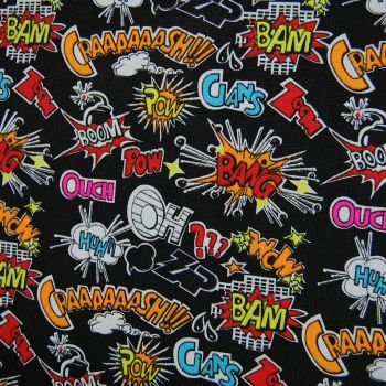 POP ART FURNISHING CANVAS FABRIC WITH BLACK BACK SOLD BY THE METRE.