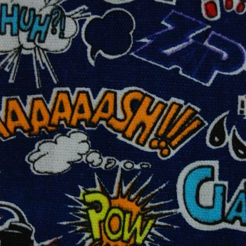 POP ART FURNISHING CANVAS FABRIC WITH NAVY BACK SOLD BY THE METRE.