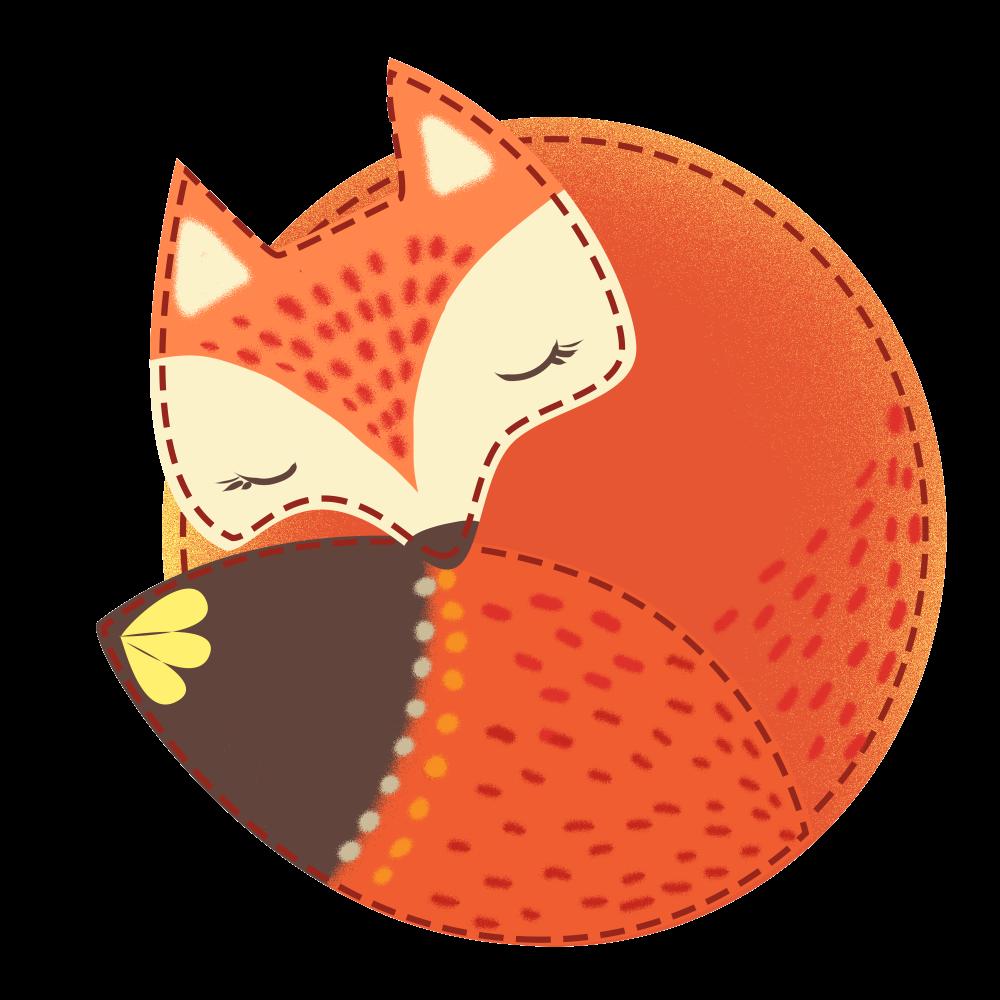 8 INCH COTTON SQUARE,  SLEEPING FOX.