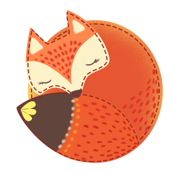 8 INCH COTTON SQUARE,  SLEEPING FOX.