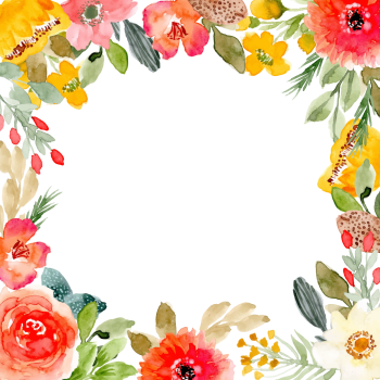 8 INCH COTTON SQUARE,  FLORAL FRAME (OPTION A).