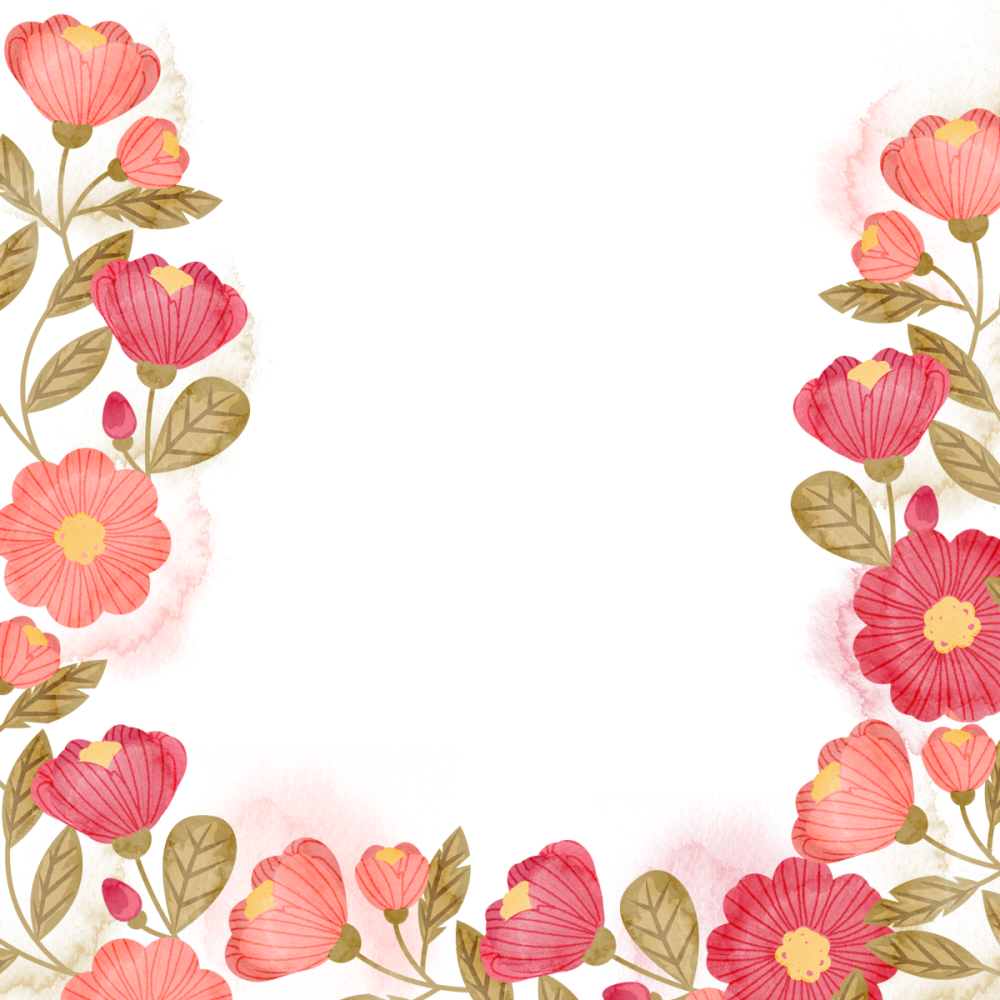 8 INCH COTTON SQUARE,  FLORAL FRAME (OPTION D).