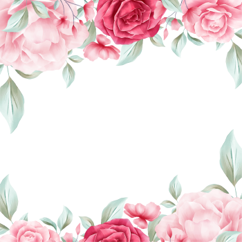 8 INCH COTTON SQUARE,  FLORAL FRAME (OPTION E).