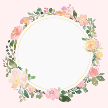 8 INCH COTTON SQUARE,  FLORAL FRAME (OPTION G).