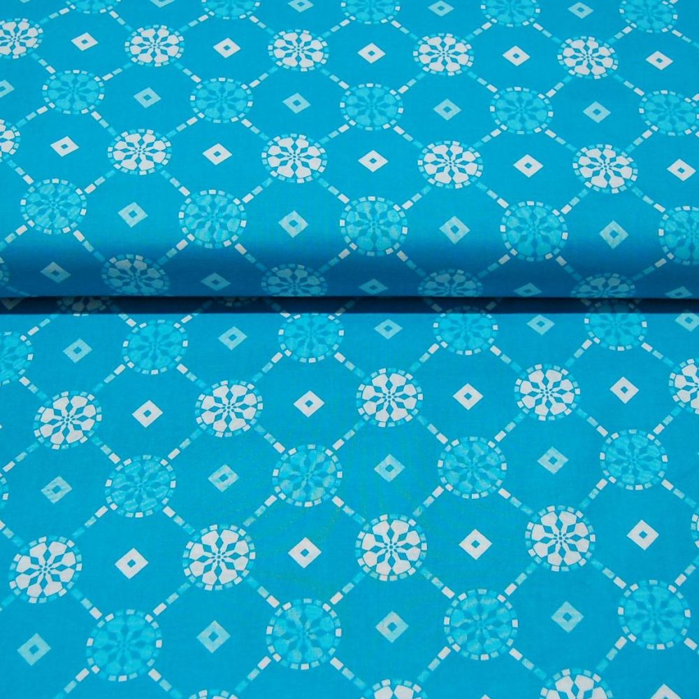 CLASSIC TILES BLUE (STYLE 2) 100% COTTON BY THE COTTON CRAFT CO'.