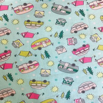SUMMER CAMPING ON MINT 100% COTTON BY THE COTTON CRAFT CO'.