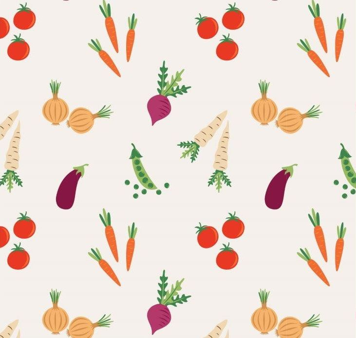 VEGETABLES 100% COTTON BY THE COTTON CRAFT CO'.