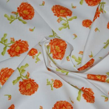 BELLE BY MARY FRENCH, 100% COTTON. ORANGE FLORAL.