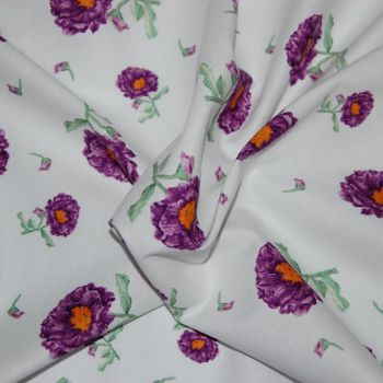 BELLE BY MARY FRENCH, 100% COTTON. PURPLE FLORAL.