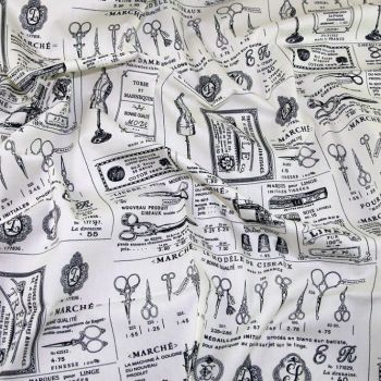 ROSE AND HUBBLE VINTAGE SEWING NOTIONS 100% COTTON POPLIN.