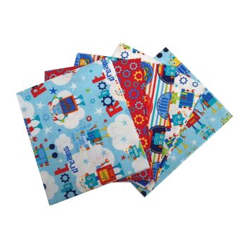 ROBOT DREAMS FAT QUARTER SET, 5 PIECES. 100% COTTON.
