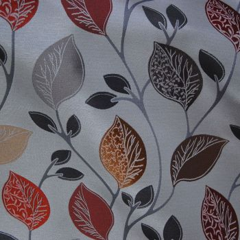 MODERN WOVEN COTTON MIX WITH LEAF PATTERN OCHRE, GREEN, BURNISHED RED.