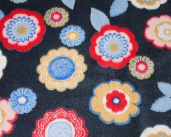 FLOWER CUDDLE FLEECE, 58 INCH WIDE. NAVY.