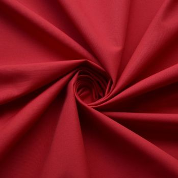 FINE PLAIN DYED POLY COTTON FOR DRESS MAKING, CRAFTS ETC, CHERRY.