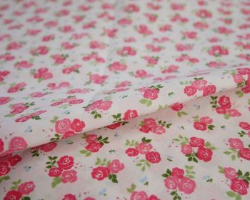 SALLY COTTON MIX, TRIPLE ROSE FLORAL PINK ON PINK.