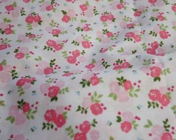 SALLY COTTON MIX, TRIPLE ROSE FLORAL PINK ON WHITE.