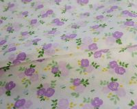 SALLY COTTON MIX, TRIPLE ROSE FLORAL LILAC ON WHITE.