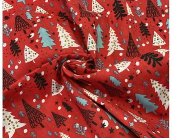 COTTON MIX, CHRISTMAS TREES, SCANDI STYLE WITH RED BACK