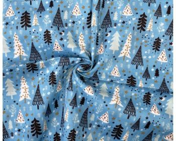 COTTON MIX, CHRISTMAS TREES, SCANDI STYLE WITH SKY BLUE BACK