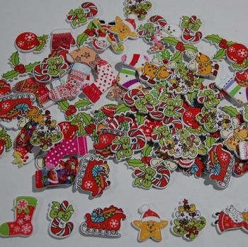 MIXED SELECTION OF 50 CHRISTMAS THEMED SEW ON EMBELLISHMENTS