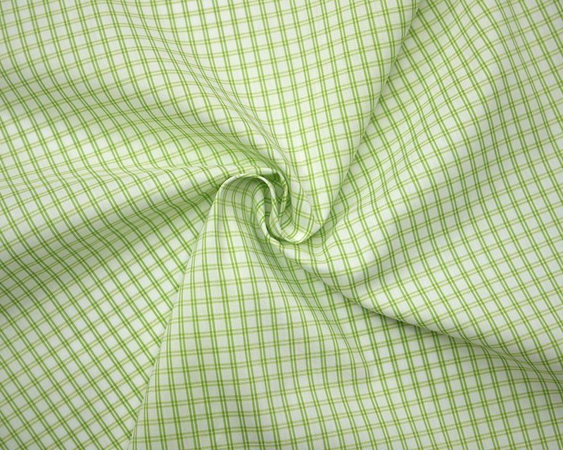 M + M TICKING CHECK IN LIME. COTTON MIX.