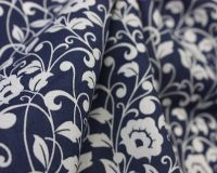REGAL FLOWERS ON NAVY, COTTON MIX.