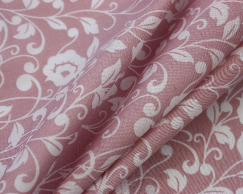 REGAL FLOWERS ON DUSTY PINK, COTTON MIX.