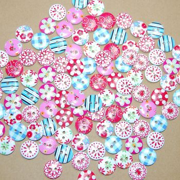 MIXED SELECTION OF 100 15mm ROUND RESIN BUTTONS