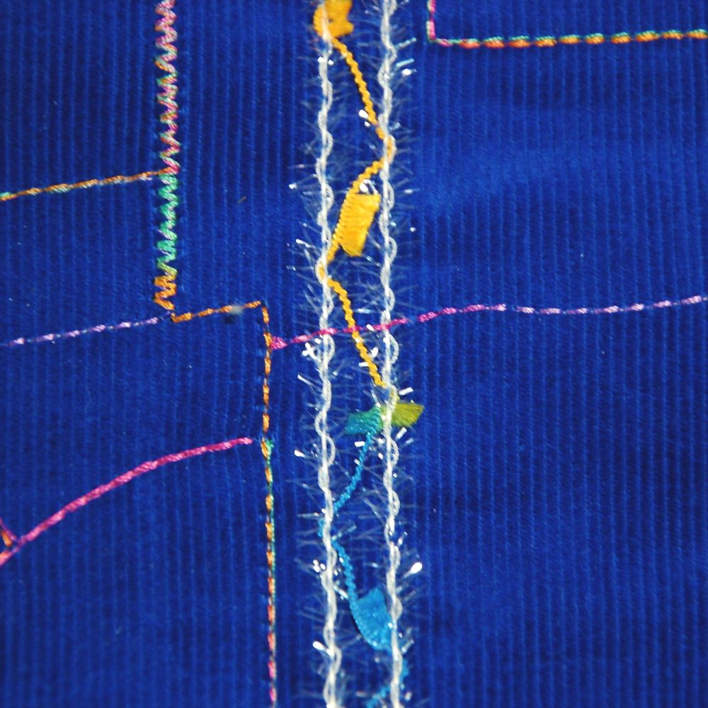 ROYAL BLUE COTTON CORD WITH STITCH WORK DECORATION, DRESSMAKING AND SOFT FU