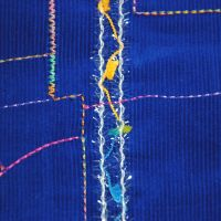 ROYAL BLUE COTTON CORD WITH STITCH WORK DECORATION, DRESSMAKING AND SOFT FURNISHINGS