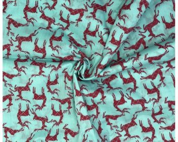 COTTON MIX, CHRISTMAS REINDEERS, SCANDI STYLE WITH AQUA BACK.
