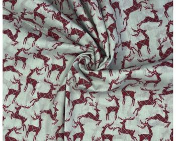 COTTON MIX, CHRISTMAS REINDEERS, SCANDI STYLE WITH PALE GREY BACK.