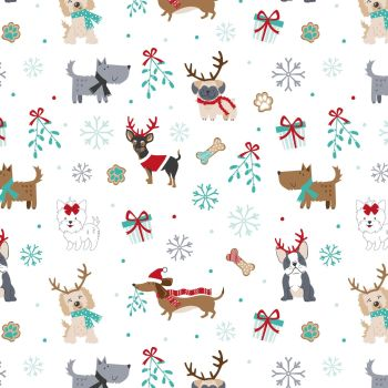 CHRISTMAS COTTON BY THE COTTON CRAFT CO'.  DOGS ON WHITE.