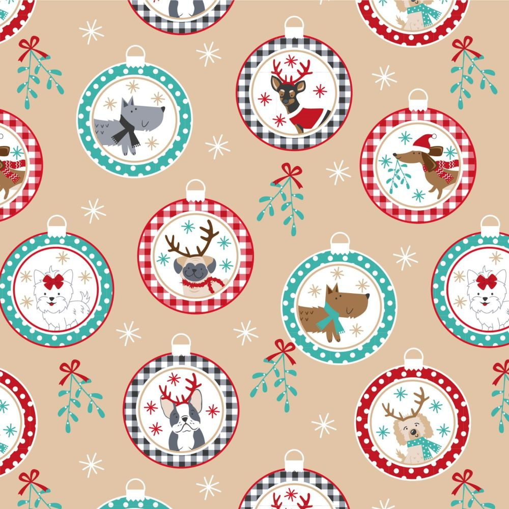 CHRISTMAS COTTON BY THE COTTON CRAFT CO'.  DOG BONES ON AQUA.