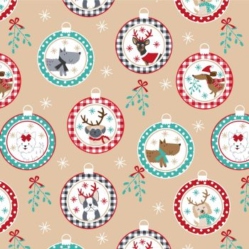 CHRISTMAS COTTON BY THE COTTON CRAFT CO'.  DOG BAUBLES.